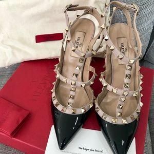 Valentino Garavani Rockstud black and nude heels